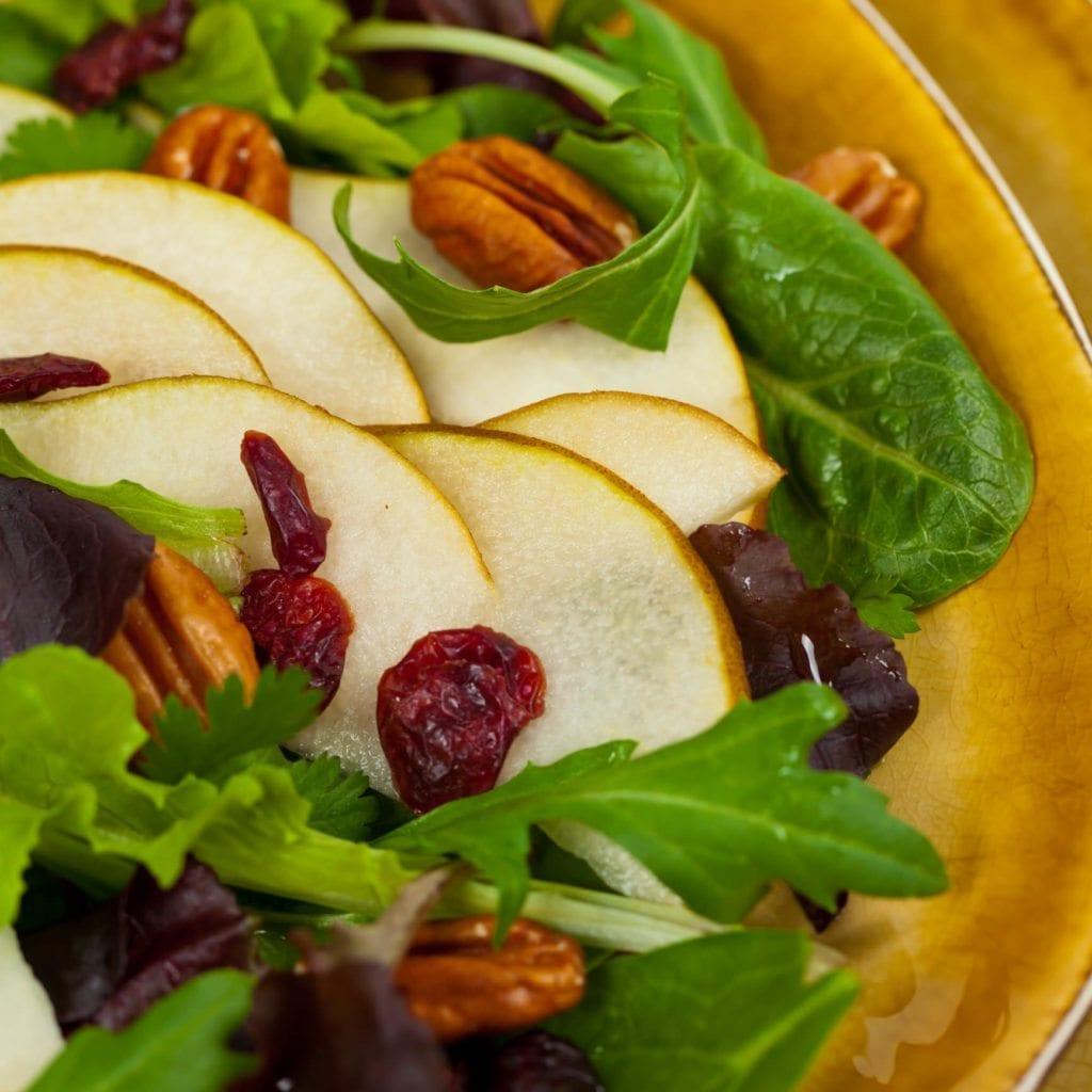 Cranberry Pear Pecan Salad with Creamy Poppyseed Dressing