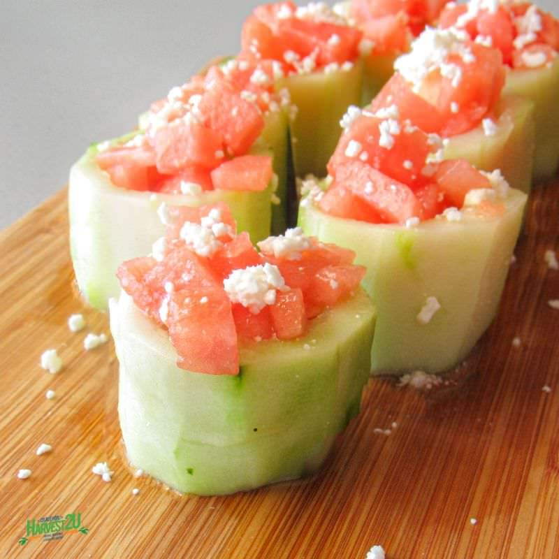 Watermelon Cucumber Cups