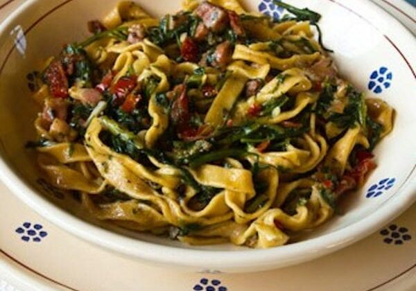 Spicy-Fettuccine With Dandelion Greens